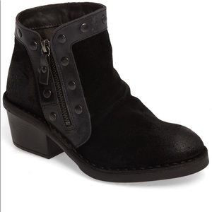 FLY London Duke Studded Suede Booties